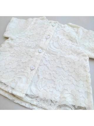 Комплект: кофточка кружевная  + шортики (вязка-хлопок) р.80 цвет: крем (2161)