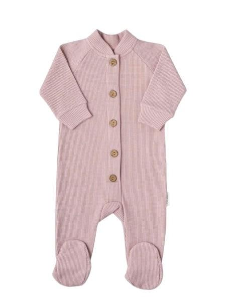 Комбинезон на пуговках (вафля кашкорсе) «Petit Bebe» р.74 (9-12 месяцев) цвет: Темно-розовый (3040)