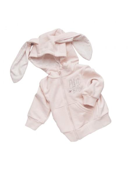 """Джемпер с капюшоном на молнии (футер без подклада) """"Petit Bebe"""" (р. 74)  цвет: Розовый (3610)"""