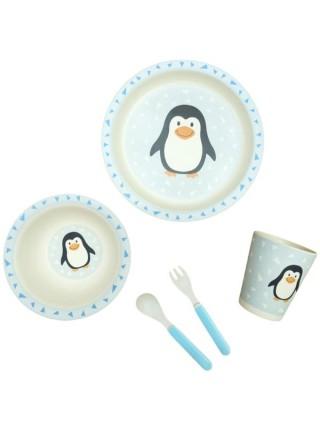 """Набор детской бамбуковой посуды """"Пингвины"""""""