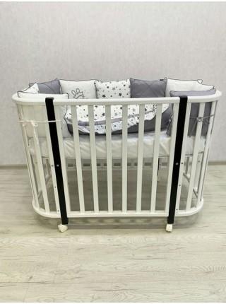 """Кровать детская деревянная на колесе+маятник+ автостенка """"Эмили  Lux 2"""" цвет: белая /шоколад"""
