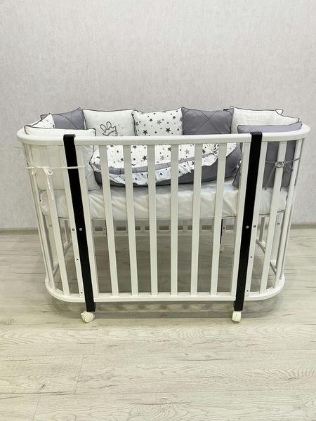 """Кровать детская деревянная на колесе """"Эмили 1"""" цвет: белый/шоколад"""