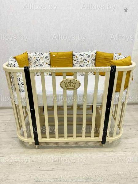 """Кровать детская деревянная на колесе+маятник """"Эмили 2"""" цвет: сл.кость/шоколад"""