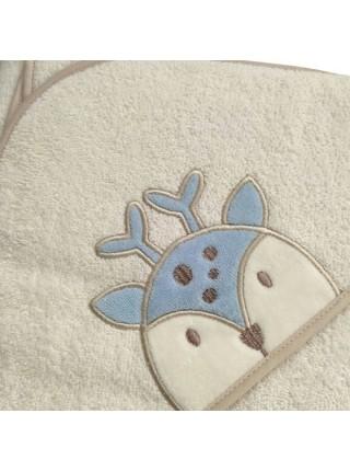 """Детское банное полотенце с капюшоном -уголком """" Олень """" махра 73*100 см цвет: голубой"""