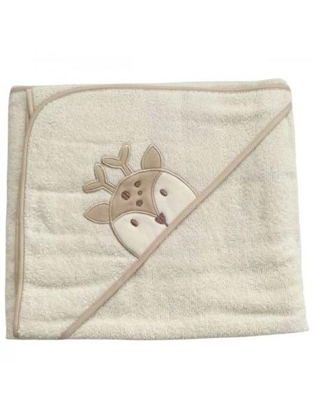 """Детское банное полотенце с капюшоном -уголком """" Олень """" махра 73*100 см цвет: бежевый"""