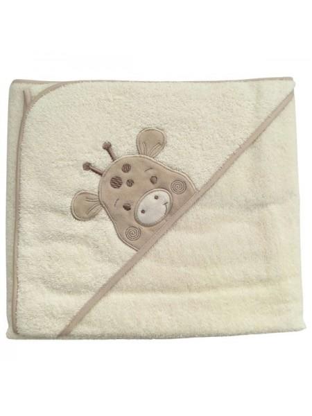 """Детское банное полотенце с капюшоном -уголком """" Жираф """" махра 73*100 см цвет: бежевый"""