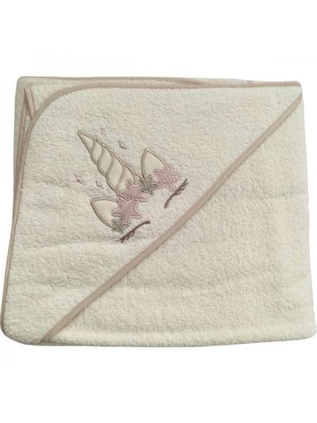 """Детское банное полотенце с капюшоном -уголком """" Единорог """" махра 73*100 см цвет: бежевый"""