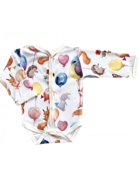 """Боди Newborn с длинным рукавом  на кнопках р. 50 """"Веселые зверята"""" (Т-131)"""