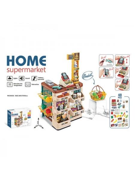 """Детский игровой набор """" Супермаркет""""  48 аксессуаров + звук+свет (668-84)"""