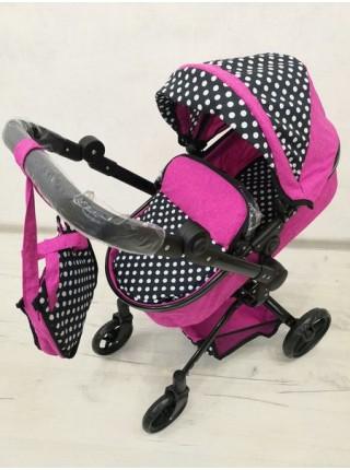Детская коляска - трансформер для кукол с перекидной ручкой цвет: черно-малиновая 9695