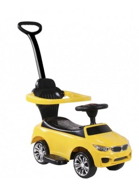 Детская каталка-толкачик с поворотной родительской ручкой BMW цвет: желтый (JY-Z06B)