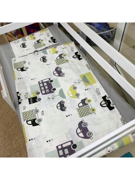"""Комплект постельного белья 3 предмета """"машинки"""" для полуторной кровати п-004"""