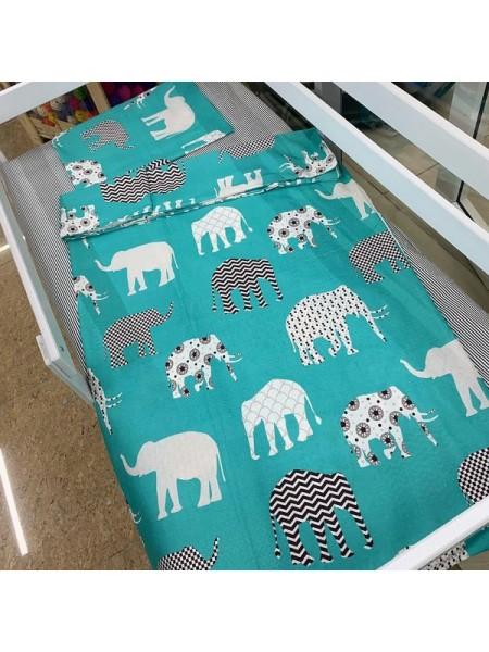 """Комплект постельного белья 3 предмета """"слоны"""" для полуторной кровати п-004"""