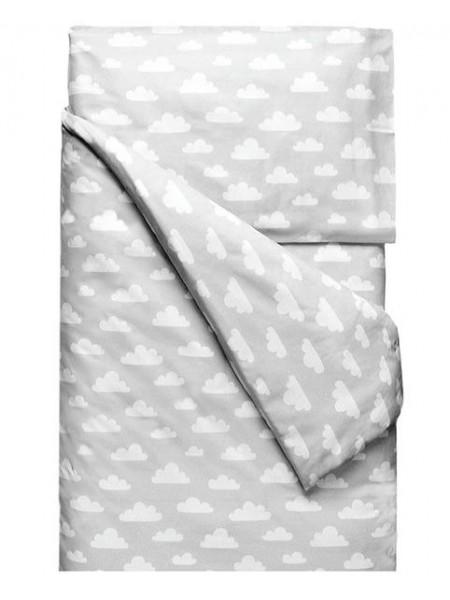 """Комплект постельного белья 3 предмета """"облака на сером"""" для полуторной кровати п-004"""