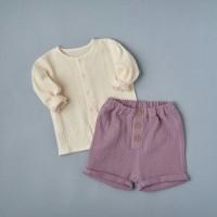 Комплект: блуза на кнопках + шорты (муслин) р.62 цвет: песочный+сиреневый (2491)