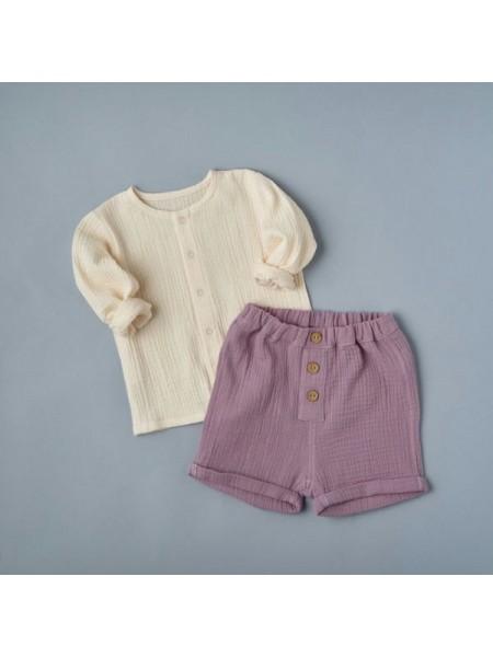 Комплект: блуза на кнопках + шорты (муслин) р.68 цвет: песочный+сиреневый (2491)