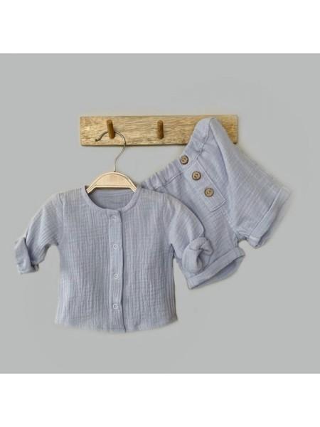 Комплект: блуза на кнопках + шорты (муслин) р.62 цвет: светло-голубой (2491)