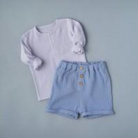 Комплект: блуза на кнопках + шорты (муслин) р.86 цвет: светло-голубой + голубой (2491)