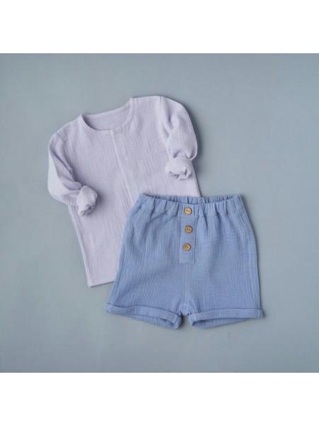 Комплект: блуза на кнопках + шорты (муслин) р.68 цвет: светло-голубой + голубой (2491)