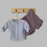 Комплект: блуза на кнопках + шорты (муслин) р.86 цвет: светло-голубой + сиреневый (2491)