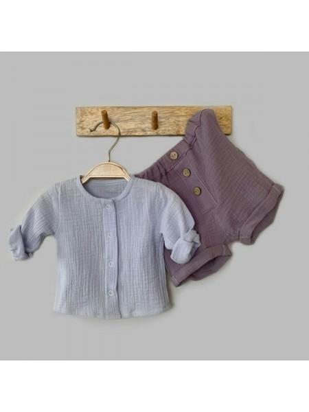 Комплект: блуза на кнопках + шорты (муслин) р.68 цвет: светло-голубой + сиреневый (2491)
