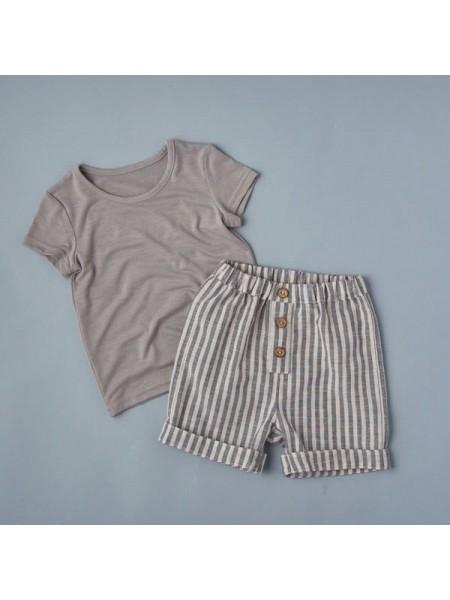Комплект: футболка  + шорты (кулирка+лён) р.80 цвет:  светло-серый+полоска  (2492)