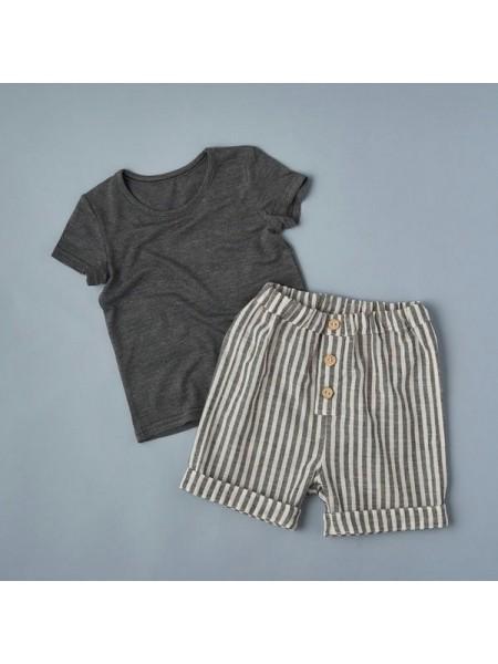 Комплект: футболка  + шорты (кулирка+лён) р.80 цвет:  темно-серый+полоска  (2492)
