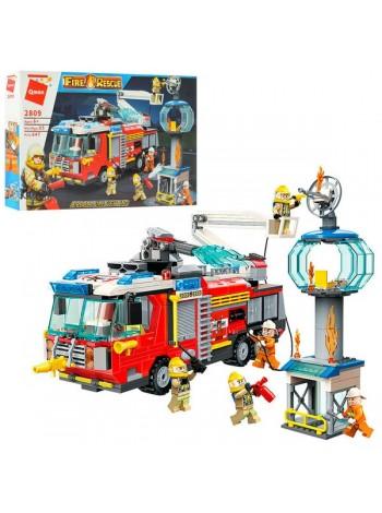 """Детский игровой набор конструктор """" Пожарная машина""""647 деталей (2809)"""