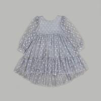 """Детское платье """"Горошинка"""" (сетка в крупный горох) р. 80 цвет. серый (40101)"""