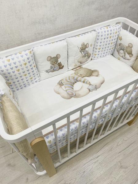 """Детский универсальный комплект в кроватку 17 предметов """"Мышка на облаке """" цвет: голубой (6075)"""