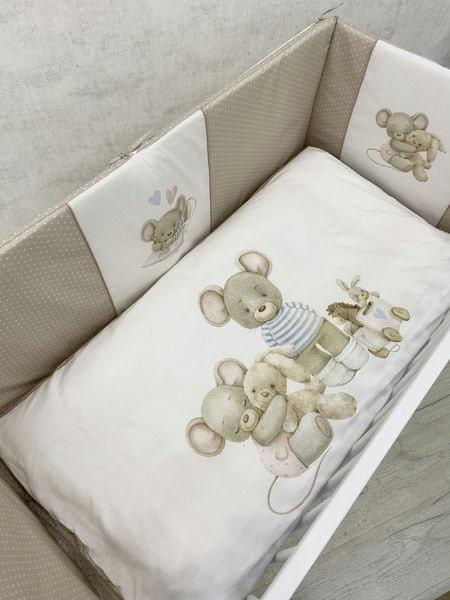 """Детский комплект постельного белья 6 предметов для стандартной кроватки """"Little Mouse"""" 6071"""