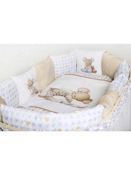 """Детский комплект постельного белья 17 предметов для круглой\овальной кроватки """"Мышка на облаке"""" 6075"""