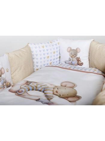 """Детский универсальный комплект в кроватку  4 предмета """"Мышки на облачке """" цвет: бежевый (8075)"""