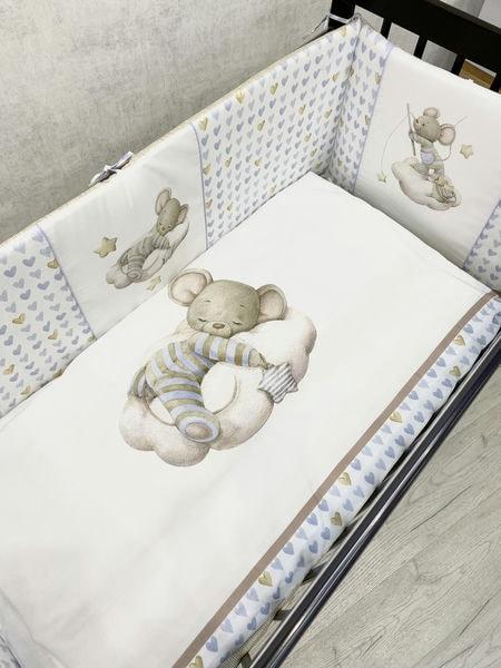 """Детский комплект постельного белья 6 предметов для стандартной кроватки """"Мышка на облаке"""" 6076"""