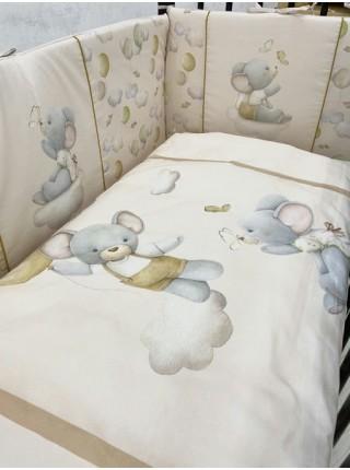 """Детский комплект постельного белья 6 предметов для стандартной кроватки """"Шарики"""" цвет: карамельный 6096/4"""
