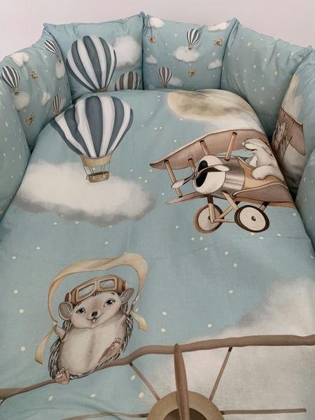 """Детский универсальный комплект в кроватку 17 предметов """"Навстречу приключениям """" цвет: голубой (6097/1)"""