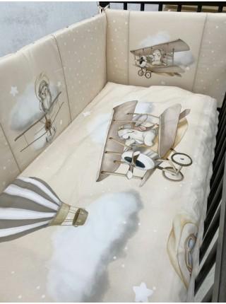 """Детский комплект постельного белья 6 предметов для стандартной кроватки """"Навстречу приключениям"""" цвет: бежевый 6098/4"""