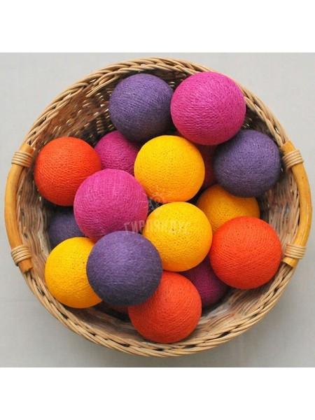 """Хлопковые шарики \ Тайская гирлянда из шариков на батарейках 20 LED 3 метра """"Конфетти """""""