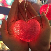 """Хлопковые шарики \ Тайская гирлянда из шариков  3 метра """" Сердцат """" 220В"""