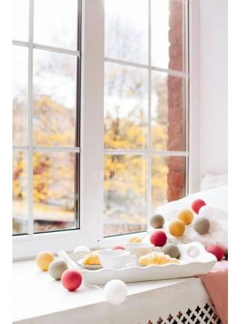 """Хлопковые шарики \ Тайская гирлянда из шариков на батарейках 20 LED 3 метра """" Вельвет """""""