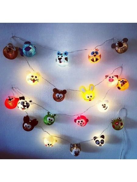 """Хлопковые шарики \ Тайская гирлянда из шариков на батарейках 20 LED 3 метра """"Зверюшки """""""