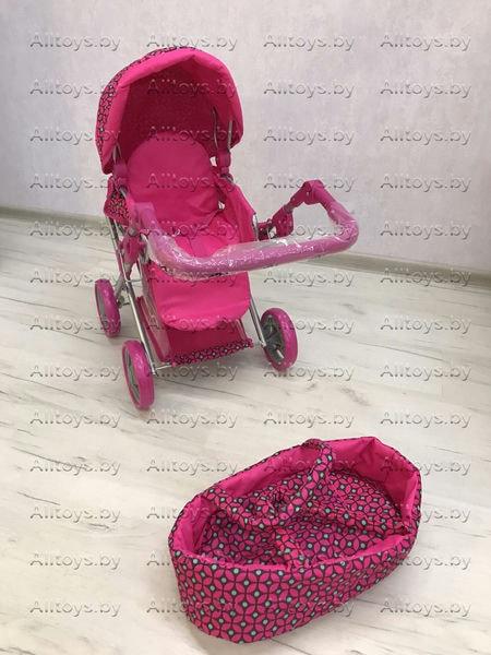Детская коляска - трансформер + люлька для кукол с корзиной 2 в 1 Melobo 9346 цвет: малиновый в ромб