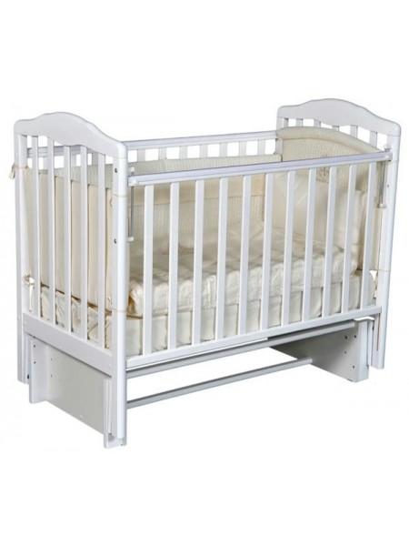 """Кровать детская деревянная с универсальным маятником + накладки-грызунки """" Erica 2"""" цвет: белый"""
