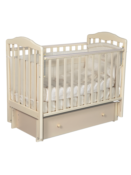 """Кровать детская деревянная с универсальным маятником + ящик + накладки-грызунки """" Erica 3"""" цвет: слоновая кость"""