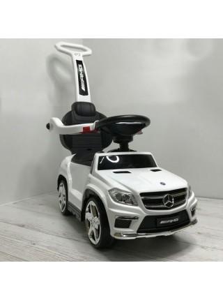 """Детская каталка-толкачик с ручкой """" Машина Mercedes GL63 AMG \ Мерседес """" со звуком и светом 2 в 1 цвет: белый  (A888AA-M)"""