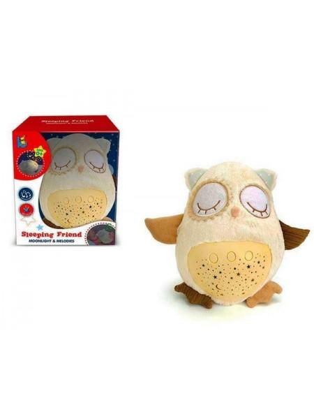 """Детская игрушка-ночник """"Сова с проектором"""" со световыми и звуковыми эффектами + белый шум( JLD333-38A )"""