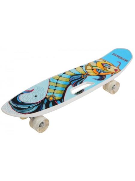 Скейтборд MicMax для детей и подростков ( роликовая доска ) цвет: белый мультиколор (JP-128B2)