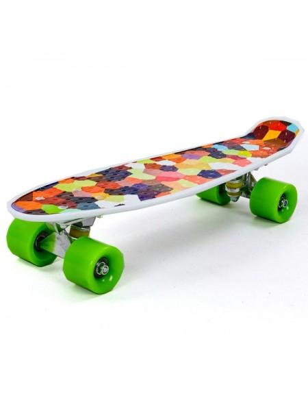 Пенниборд для детей и подростков ( роликовая доска ) Ромбики цвет: мультиколор  (JP-HB-133)