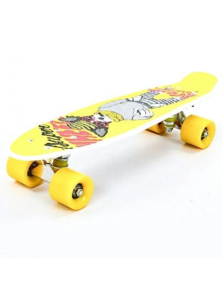 Пенниборд для детей и подростков ( роликовая доска )  цвет: желтый  (JP-HB-133)