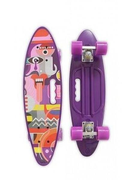 Скейтборд MicMax для детей и подростков ( роликовая доска ) цвет: фиолетовый  (JP-HB-314)